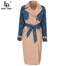 Patchwork Coat Windbreaker Women Long-Sleeve DELLA Autumn Designer Winter Fashion LINDA