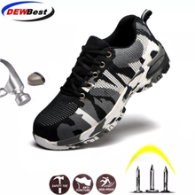 Construction botas de trabajo con puntera de acero para hombre, zapatos de seguridad transpirables, a prueba de perforaciones, de talla grande, para exterioresCalzado de seguridad