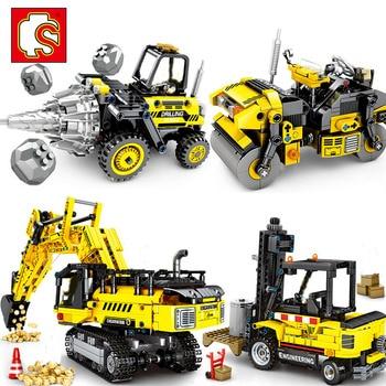 SEMBO BLOCK City Engineering Bulldozer Crane Technic Car Truck Excavator Roller Building Blocks bricks Construction Toys недорого