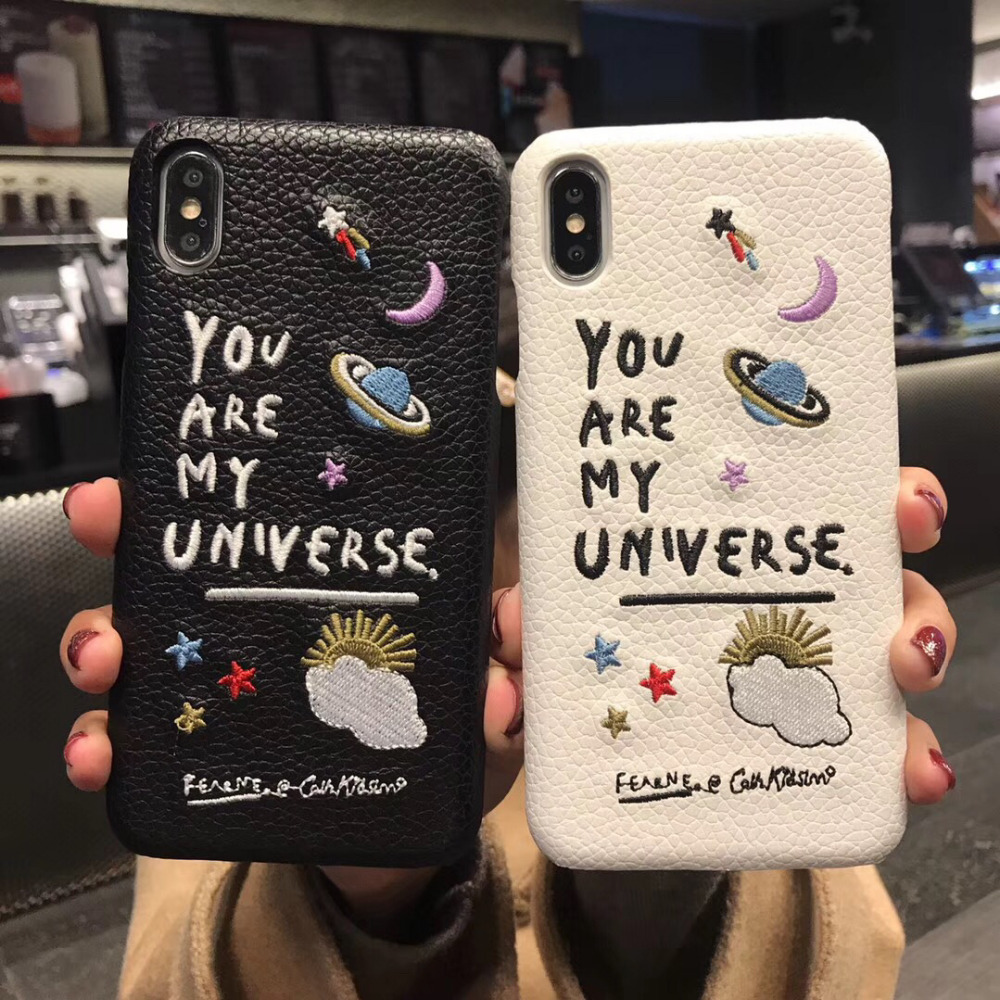 3D Embroidery Cortex Planet Case For Iphone 12 11 Pro 7 8 Plus X XR XS Max Funny You Are My Universe Couple Cover