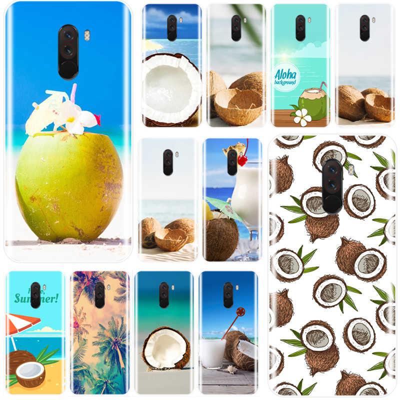 الفاكهة جوز الهند على الشاطئ الطباعة الرسم غطاء TPU جراب هاتف ل Redmi 4 4A 4X 5A 5 زائد 6pro 7 ملاحظة 4X5 6 الموالية ملاحظة 4 5 6 7