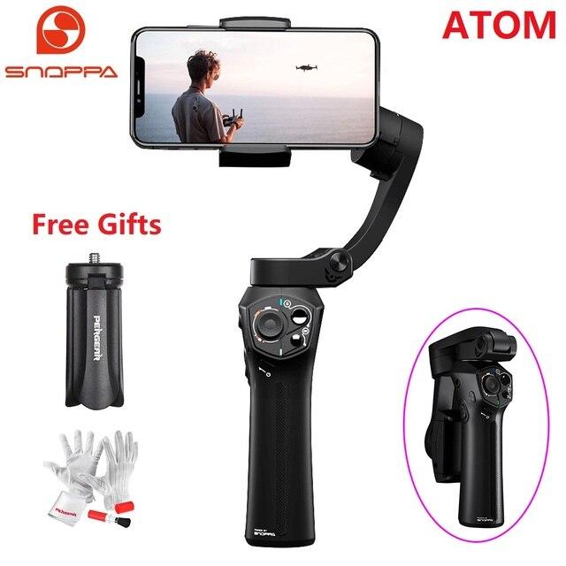 Snoppa Atom estabilizador de cardán de mano plegable de 3 ejes para iPhone XS X 8Plus, GoPro y carga inalámbrica