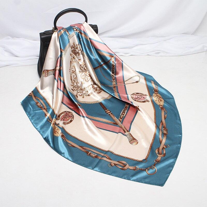Scepter Pattern Printed Ink Blue Scarf Women Embroidered Silk Handkerchief Square Bandana Foulard Neckerchief Female 90X90cm
