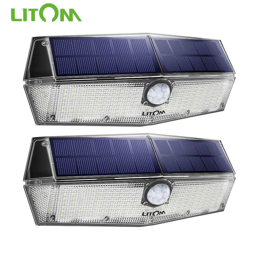 2 PCS Litom 200 LED Solar Light Motion Sensor Light With IPX7 Waterproof Superior Bright Wall Lamp For Outdoor Garden Driveway