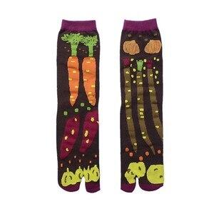 Image 5 - Women Cartoon Combed Cotton Two Toe Socks Japanese Multicolor Jacquard Split Toe Socks Flowers Art Cute Middle Tube Tabi Sock