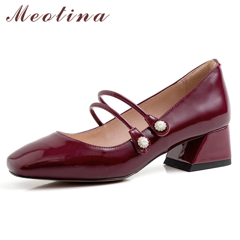 Meotina High Heels Women Pumps Natural Genuine Leather Thick Heel Mary Janes Shoes Cow Leather Square Toe Shoes Lady Size 33-40