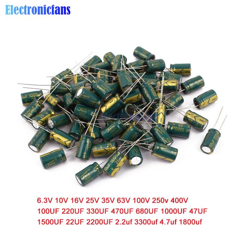 6.3V 10V 16V 25V 35V 50V 100V Low ESR High Frequency Aluminum Capacitor 47UF 100UF 220UF 330UF 470UF 680UF 1000UF 1500UF 2200UF