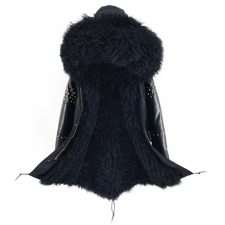 OFTBUY Long Parka Real Mongolia Sheep Fur Coat Winter Jacket Women Natural Sheepskin Leather Rivet Sleeves  Outerwear Streetwear