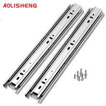Gaveta track três-seção de aço inoxidável engrossado resistente slide ferroviário side-montado mudo armário ferroviário guarda-roupa slide