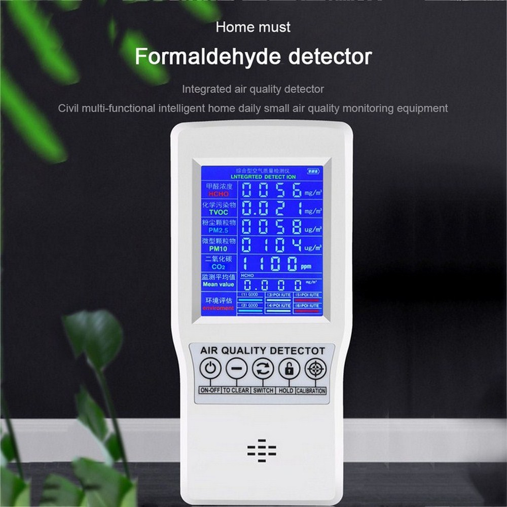 Intelligent Digital LCD Formaldehyde Detector Home Smog Meter CO2 HCHO TVOC Air Quality Analysis Tester Detector Sensor Monitor|Gas Analyzers| |  - title=