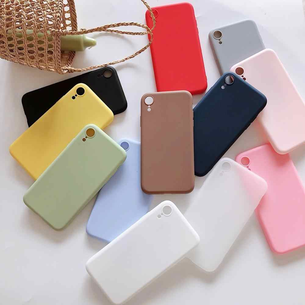 For iPhone 5 5S Case Cute Solid Soft TPU Silicone Case for Apple iPhone 11 Pro Max 6 6S 7 8 Plus XS MAX XR X Phone Cover Fundas