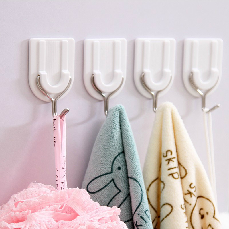Plastic Adhesive Hook White Clothes Hook (6 Pcs) Kitchen Shower Door after Tile Small Adhesive Hook