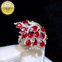 10K Gold ring Lab Created 2.4ct Ruby and Moissanite Diamond Ring With national certificate Ru 012