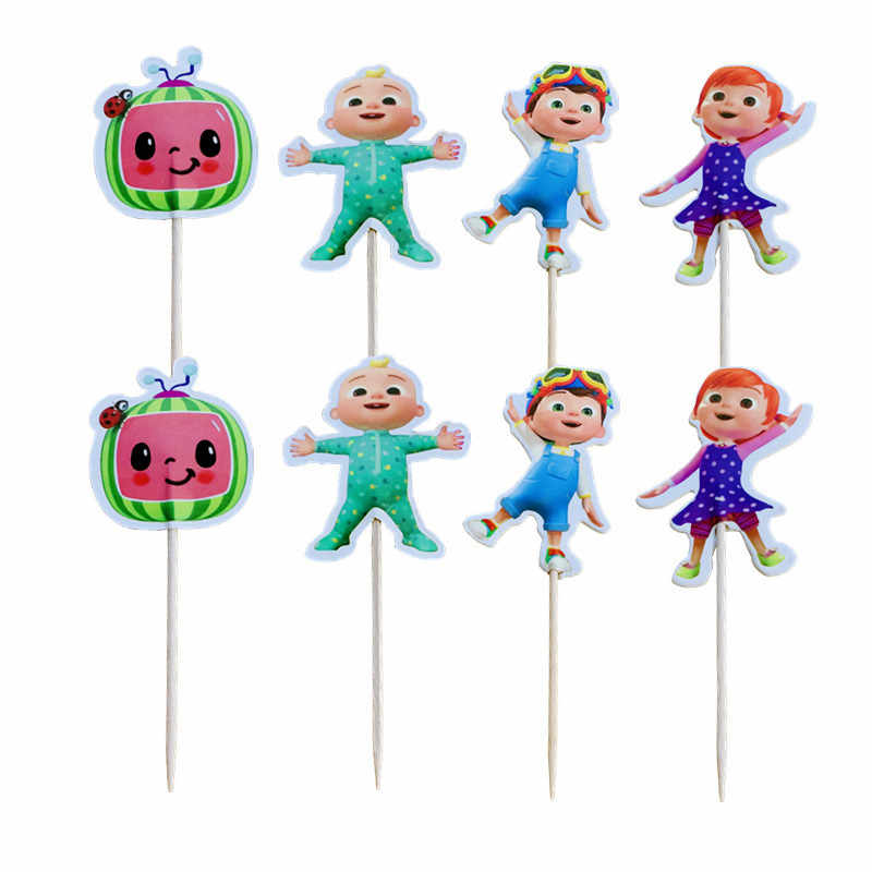24pcs Lot Cocomelon Theme Decorate Cupcake Toppers With Sticks Baby Shower Boys Kids Favors Happy Birthday Party Cake Topper Aliexpress