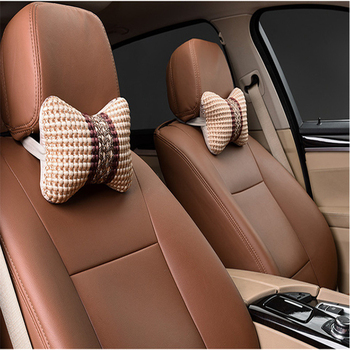 Car Neck Pillows Both Side Pu Leather Single Headrest Fit For Most Cars Filled Fiber Universal Car Pillow image