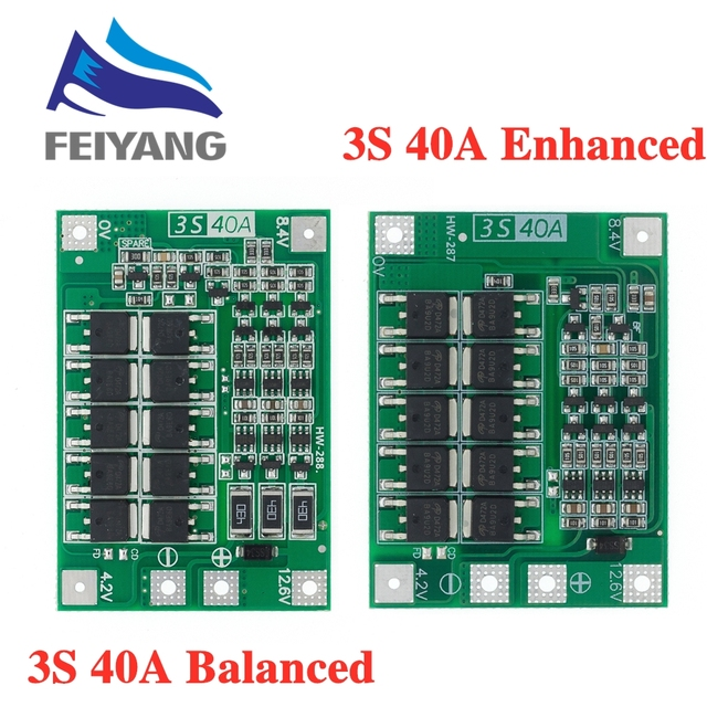 3S 40A ליתיום ליתיום סוללה מטען Lipo תא מודול PCB BMS הגנת לוח עבור תרגיל מנוע 12.6V עם איזון