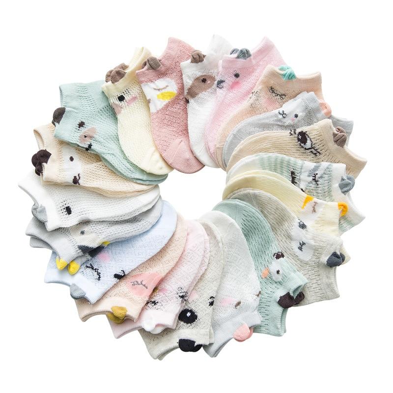 5 Pairs/lot 0 to 7 Years Spring Summer Thin Mesh Socks For Girls Boys Cute Animal Children's Thin Sock Baby Newborn Short Socks 2
