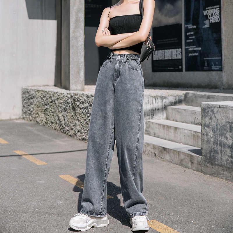 Pantalones Vaqueros De Cintura Alta Para Mujer Pantalon Holgado De Pierna Ancha De Talla Grande Con Corte De Bota 5xl Pantalones Vaqueros Aliexpress