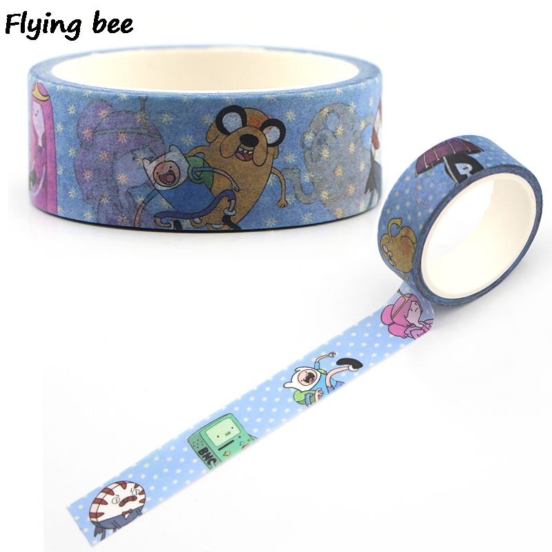 Flyingbee 15mmX5m Creative Theme Cute Washi Tape Paper DIY Decorative Cartoon Adhesive Tape Kawaii Masking Tapes Supplies X0397