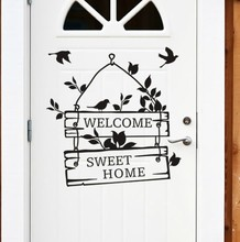 welcome to sweet home bird wall stickers home decorations living room decoration sticker removable vinly wall decals hot sale welcome sweet home wall sticker for living room