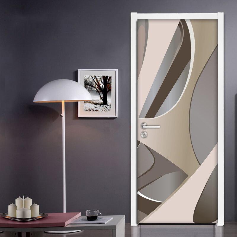 PVC Self-adhesive Door Sticker 3D Geometric Wallpaper Wall Decals Living Room Bedroom Home Decoration Door Mural Papel De Parede