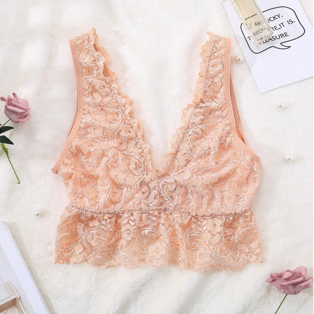 Fashion Bralette S-3XL Plus Size Sheer Lace Bra Tops 2019 Women Sexy Lingerie Lace Deep V Bralette Comfortable Casual Lingerie