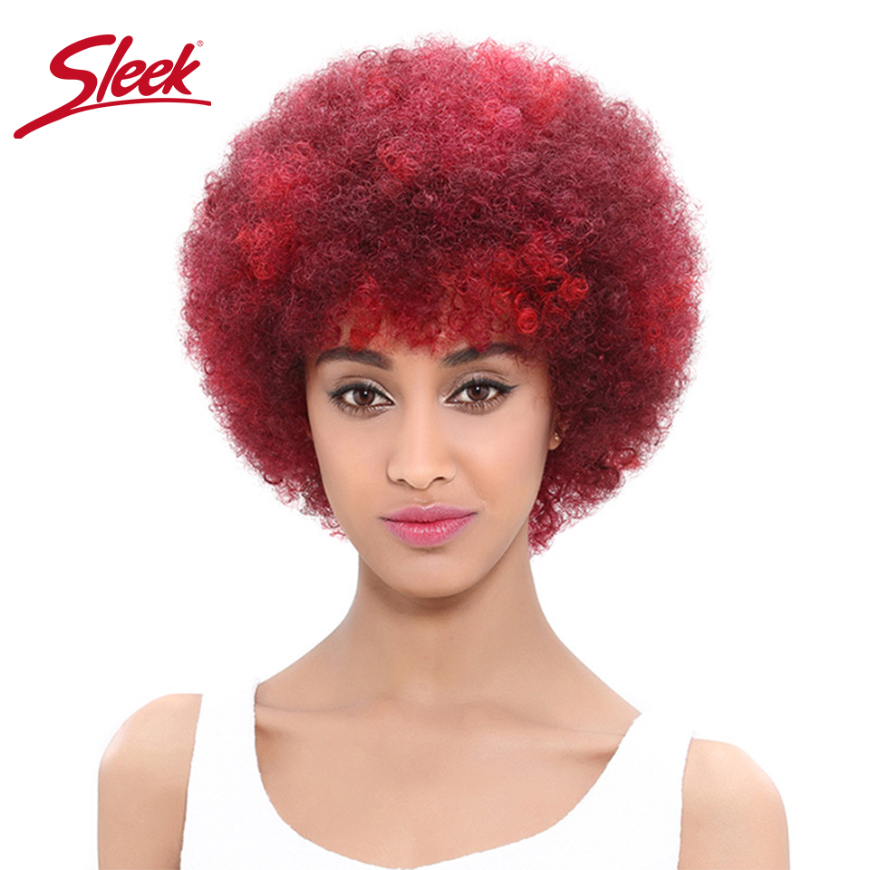 Sleek Mongolian Hair Afro Kinky Curly Wigs Cheap Wholesale Human Hair Wigs Dark Brown And Red Color 100% Perruque Cheveux Humain