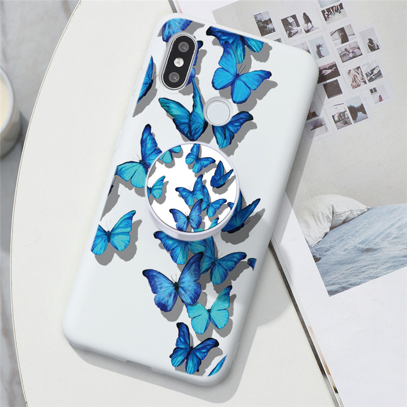Butterfly Holder Ring TPU Silicone Case For Xiaomi Mi Note 10 Pro Lite A3 Redmi Note 9 9S 8 8T 7 6 10X Pro Max Stand Holder Case