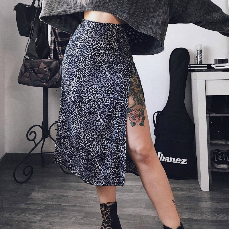 Summer Sexy Women High Waist Skirts Wraps Fashion Slim Split Beach Casual Midi Skirt Ladies Leopard Flower Printing Clothing