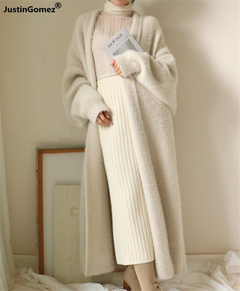 Nouveau 2019 doux confortable surdimensionné chaud Faux vison fourrure velours manteaux nouveau trench style tricoté Cardigan chandail