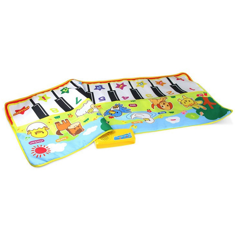 FBIL-Piano Mat, Musical Piano Mat Keyboard Play Mat Portable Musical Blanket Instrument Toy With 8 Animal Sounds Dance Mat Toy G