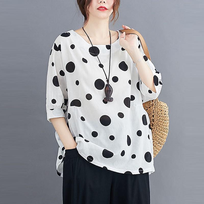 100% Cotton Oversized Shirt Women Summer Loose Casual Tops New 2020 Korean Style Polka Dot Print Woman Blouses Shirts P1027 8