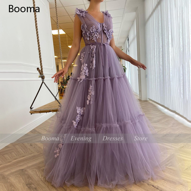 Booma V-Neck Purple Prom Dresses Sequin Appliques Exposed Boning A-Line Prom Gowns Sleeveless Tiered Tulle Formal Party Dresses 4
