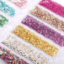 Pedra esmagada vidro cristal artificial diy cola epóxi resina filler prego fragmento decoração artesanato cor lantejoulas acessórios