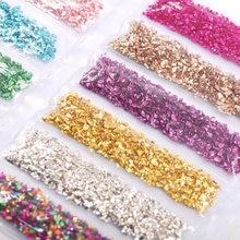 Diamantes de imitación de cristal Artificial para decoración de uñas, piedra triturada de relleno de resina epoxi UV, artesanal