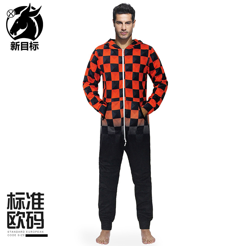 MEN'S WEAR  Autumn And Winter New Style Fun Black And Red Grid Printed Hooded Pajama Pajamas Loose Fashion Long Sleeve Onesi