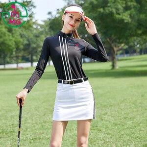 Nuovo abbigliamento da golf a maniche lunghe T-shirt vestiti delle donne di autunno e la primavera di sport camicia sottile bianco breve pantaloni del pannello esterno