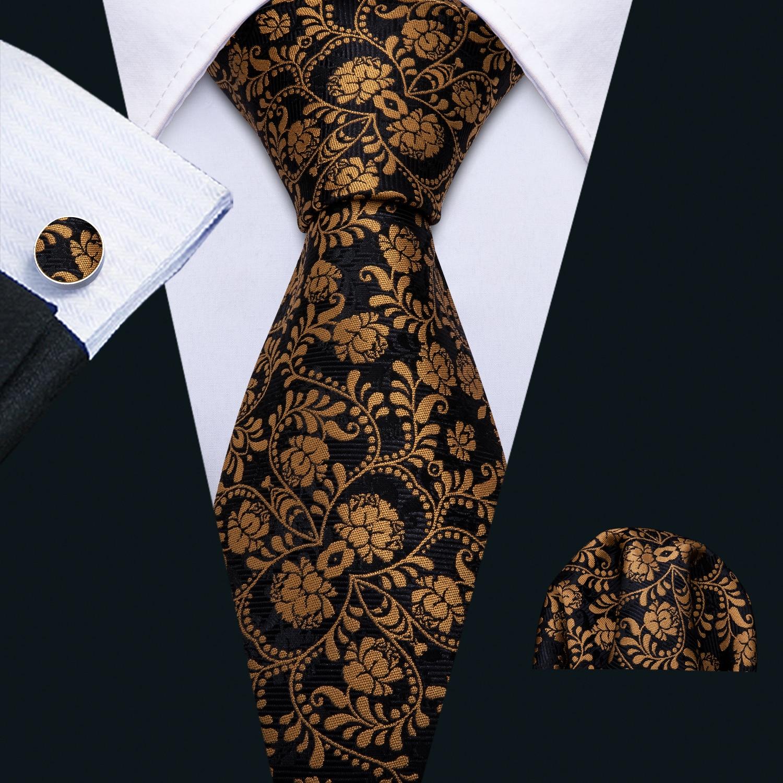 Men Gold Ties Silk Floral Necktie Set Pocket Square Cufflinks Fashion Black Necktie For Business Wedding Tie Barry.Wang FA-5193