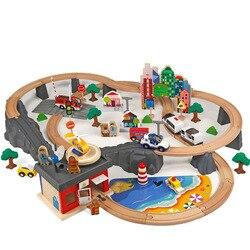 92 unids/set tren de pista de Madera Juguetes rompecabezas para niños y niñas pista tren ferroviario juego niños un regalo de cumpleaños