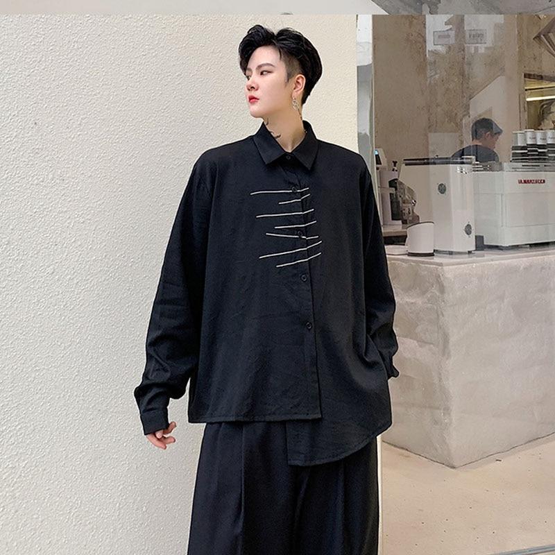 Men Long Sleeve Embroidery Irregular Casual Black White Shirt Male Streetwear Hip Hop Gothic Japan Dress Shirt