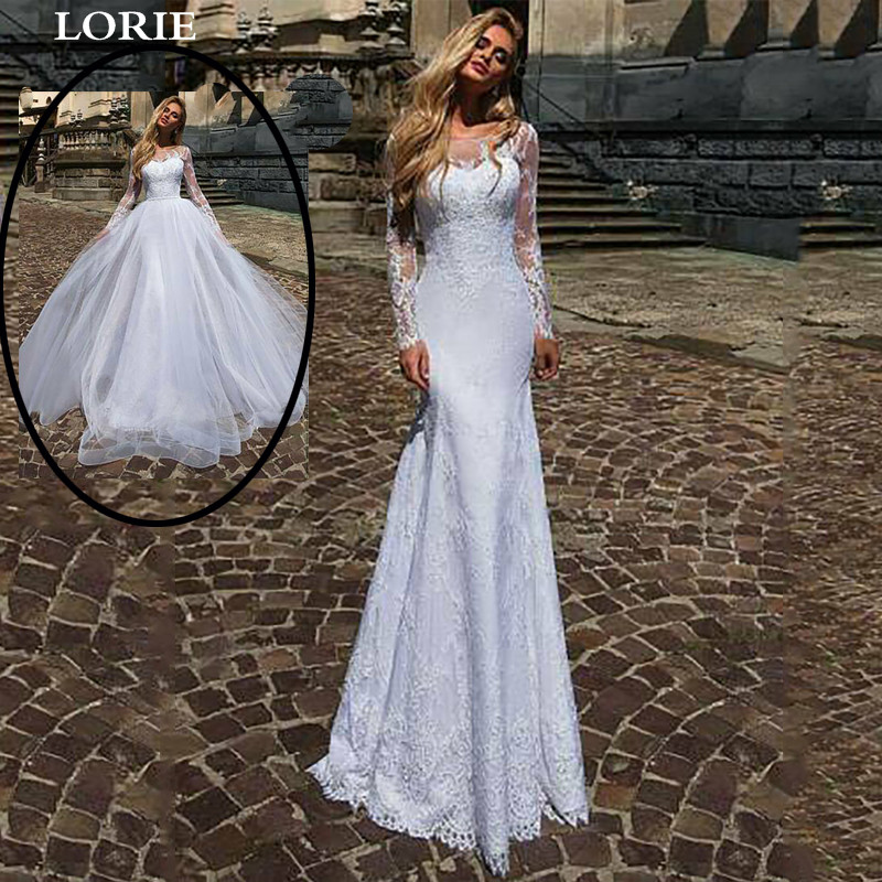 LORIE Long Sleeve Wedding Dress With Detachable Train Appliqued Lace Bride Dress Romantic Buttons Wedding Gowns Vestido De Novia