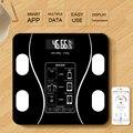 Электронные напольные весы, цифровой прибор для измерения массы тела и жира, с поддержкой Bluetooth, закаленное стекло, ЖК-дисплей