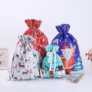 Christmas Gift Packaging Bag Holiday Snack Gift Storage Bag Santa Claus Gift Candy Food Packaging Gift Drawstring Plastic Bag
