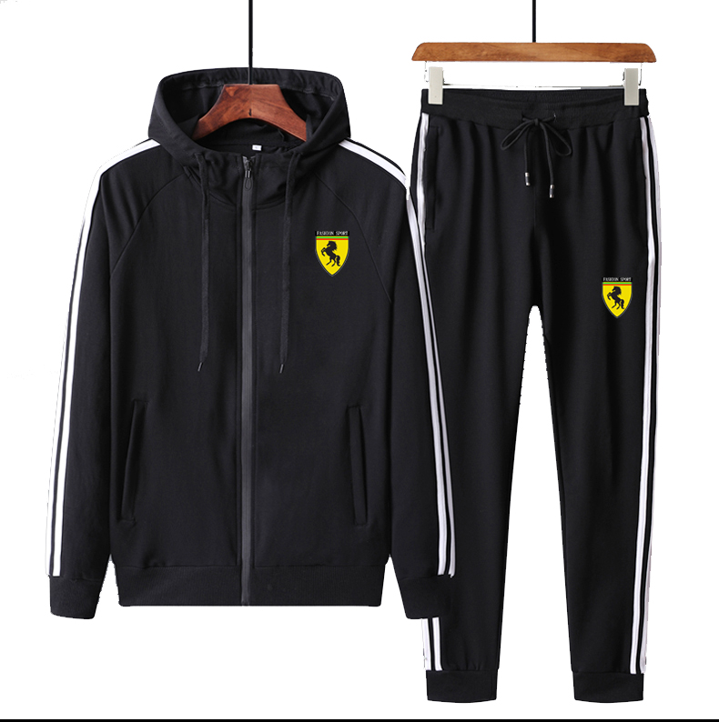 Men Hood Patch Full Outdoor Gym TrackSuit Sport Jacket Coat Bottom Top Suit Trousers Pants Track Suit Outfit