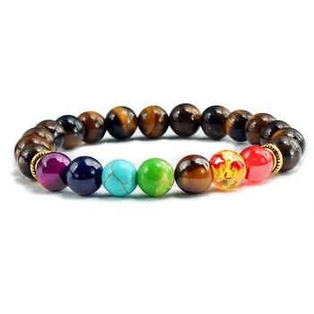Мужские браслеты из натурального камня с тигром и глазами 7 Чакры, браслет для йоги, баланс бусин, Будда, молитва, эластичный браслет