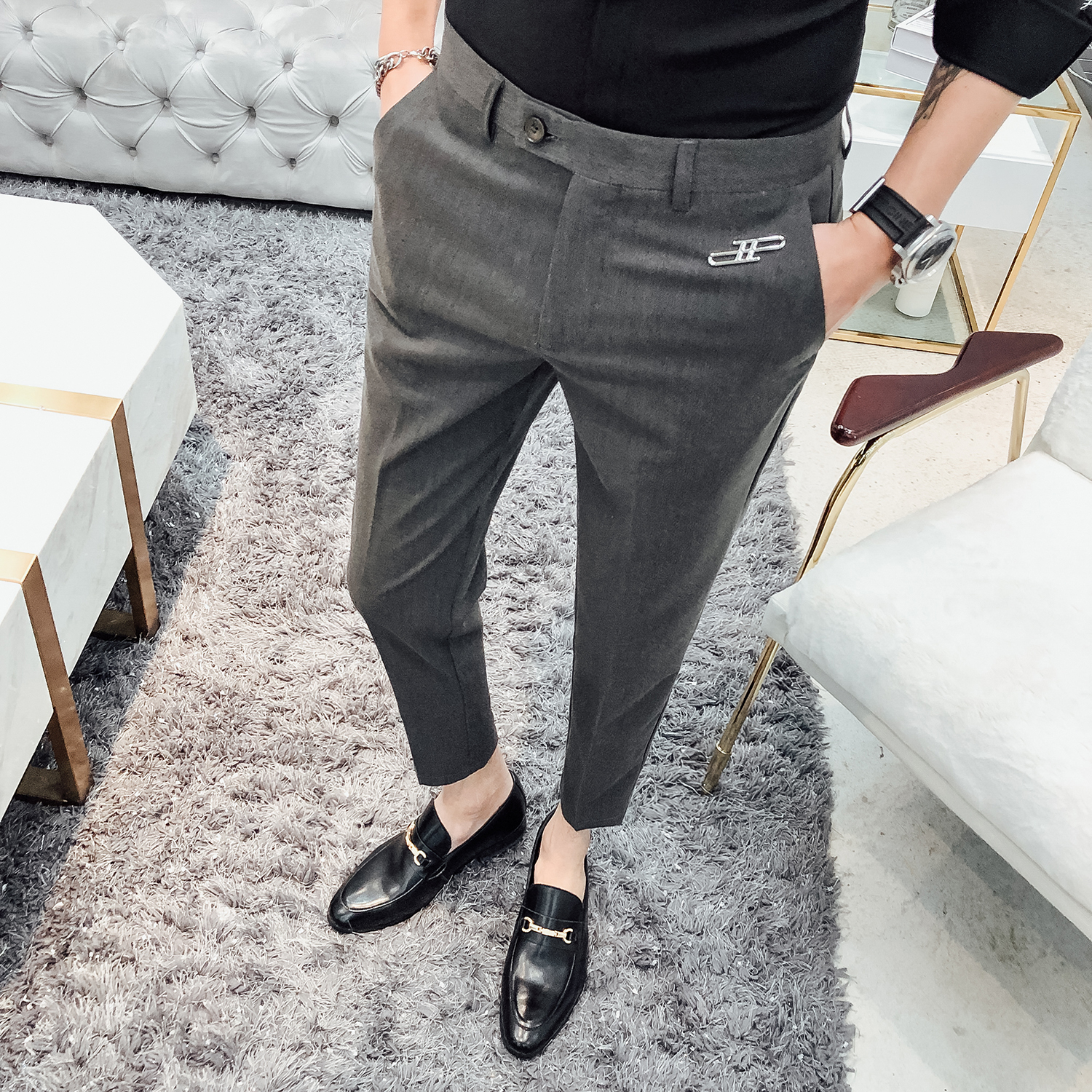 2020 Man Slim Suit Pants Casual Business Trousers Fashion Men Formal Wedding Dress Pants Street Wear Male Clothing Black Gray