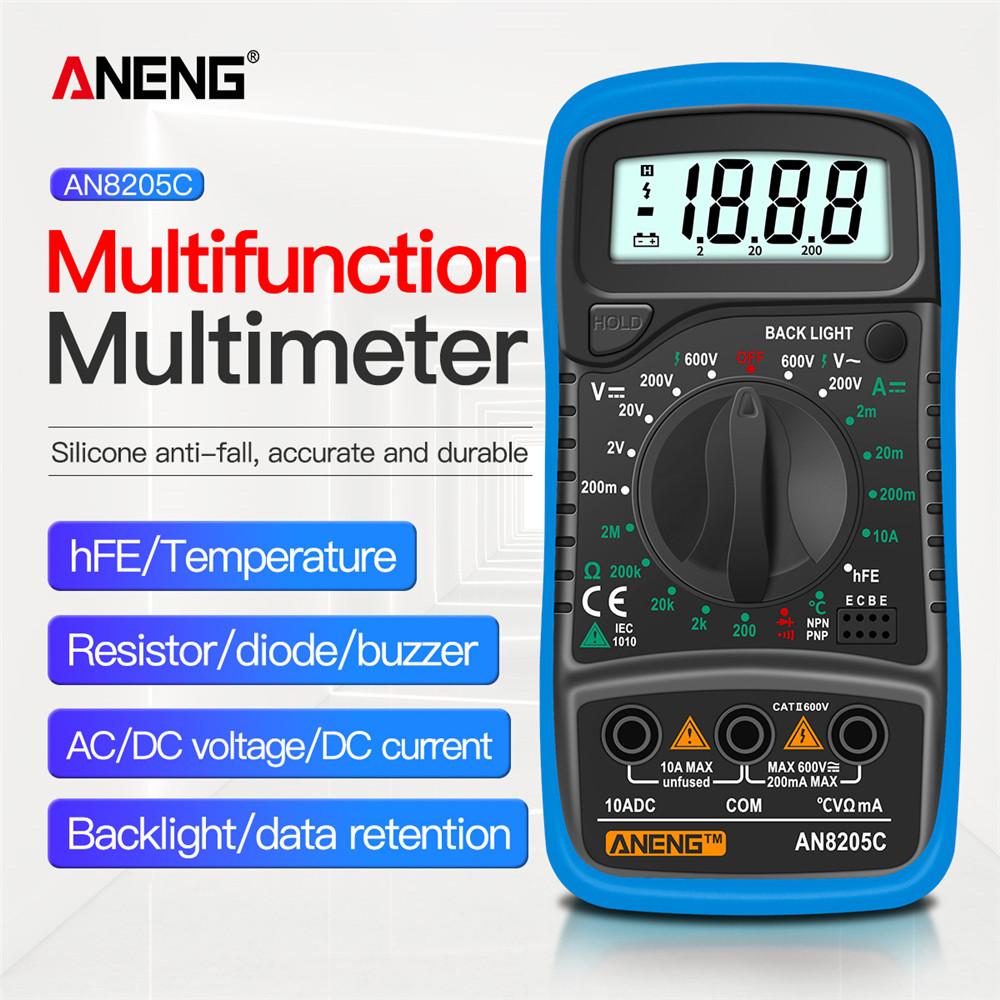 ANENG AN8205C Digital Multimeter AC/DC Ammeter Volt Ohm Tester LCD Backlight Portable Meter Multimetro With Thermocouple