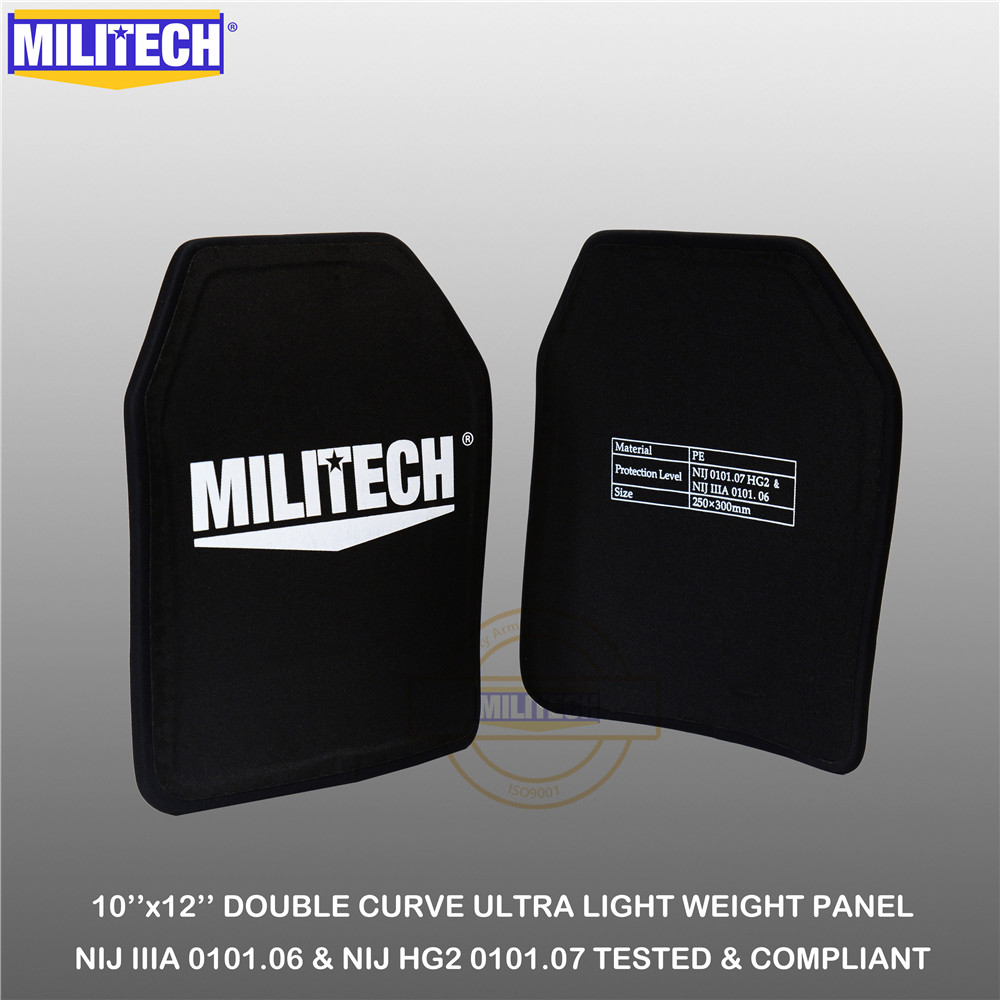 MILITECH Ballistic Plate 10inch x 12inch Pair NIJ IIIA 3A 0101 06 amp NIJ 0101 07 HG2 Ultra Light Weight UHMWPE Bulletproof Backpack Panel