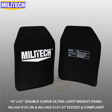 "MILITECH Ballistic Plate 10"" x 12"" Pair NIJ IIIA 3A 0101.06&NIJ 0101.07 HG2 Ultra Light Weight UHMWPE Bulletproof Backpack Panel"