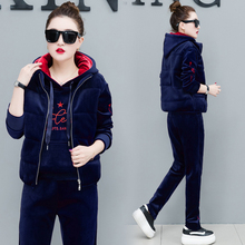 Women Cashmere Thicken Velvet Tracksuits Autumn Winter Casual Hooded Sweatshirt Vest Coat And Pants 3 2 Piece Outfits 2019 3xl
